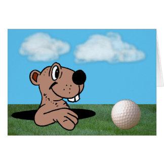 Cartão Gopher engraçado & bonito & bola de golfe no