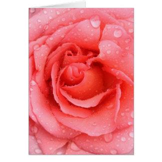Cartão Gotas cor-de-rosa românticas da água cor-de-rosa