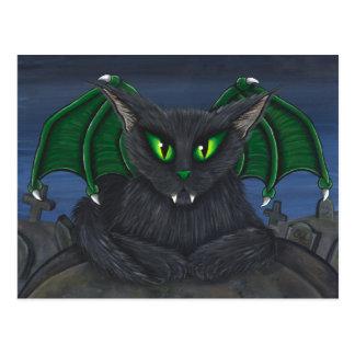 Cartão gótico da arte da fantasia do gato do