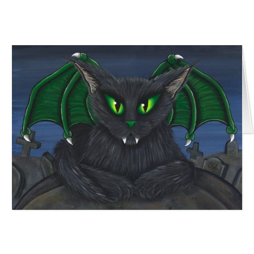 Cartão gótico da arte da fantasia do gato do vampi