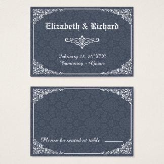 Cartão gótico do lugar do casamento tema damasco