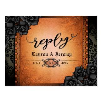 Cartão gótico preto & alaranjado do Dia das Bruxas