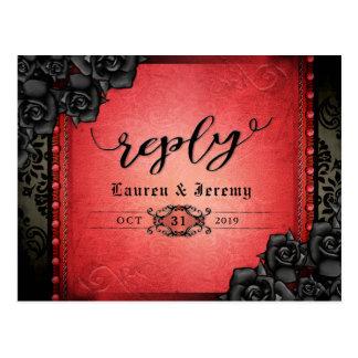 Cartão gótico preto & vermelho do Dia das Bruxas