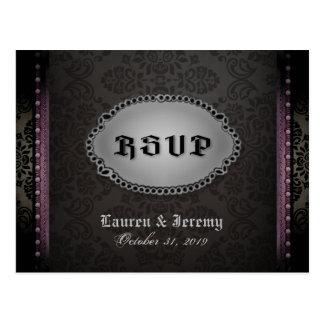 Cartão gótico roxo cinzento preto do Dia das