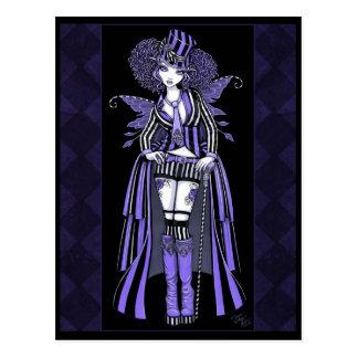 Cartão gótico roxo da fada do Couture de Fiona