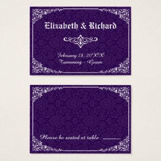 Cartão gótico roxo do lugar do casamento tema