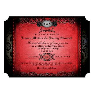 Cartão Gótico vermelho & preto do Dia das Bruxas junto