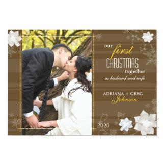 Cartão Gracioso nossa primeira do Natal foto junto