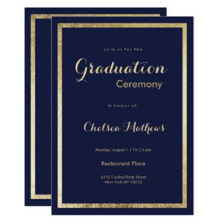 Cartão Graduação à moda elegante do ouro do falso dos