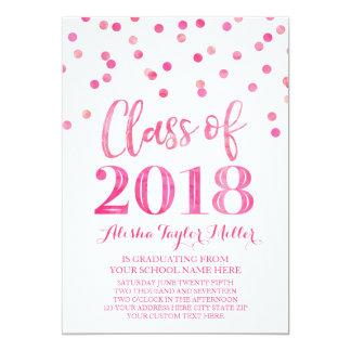 Cartão Graduação cor-de-rosa da foto dos confetes da