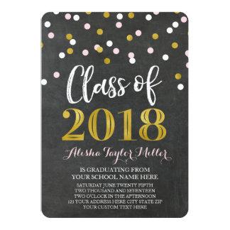 Cartão Graduação cor-de-rosa da foto dos confetes do ouro