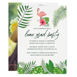 Cartão Graduação cor-de-rosa de Luau da aguarela da foto