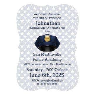Cartão Graduação da academia de polícia nos azuis