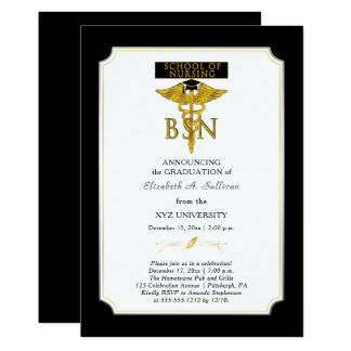 Cartão Graduação da enfermeira BSN da escola de