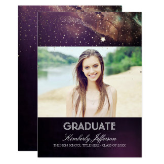 Cartão Graduação da foto da noite estrelado e da estrela