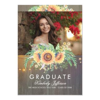 Cartão Graduação de madeira rústica da foto dos girassóis