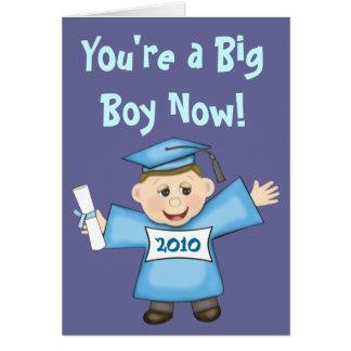 Cartão Graduação do pré-escolar/menino do jardim de