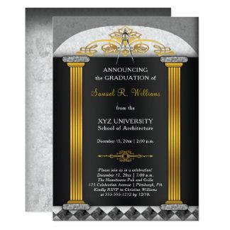 Cartão Graduação elegante do compasso da arquitetura do
