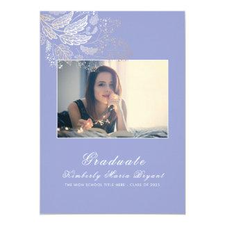 Cartão Graduação elegante roxa da foto do ouro e da
