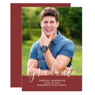 Cartão Graduação elegante simples   Borgonha da foto