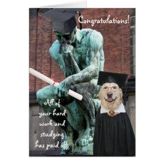 Cartão Graduação engraçada do pensador & do cão