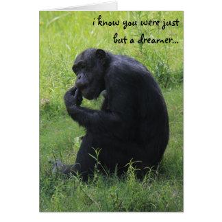 Cartão Graduação engraçada, sonhador do chimpanzé,