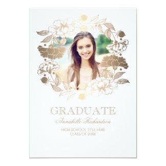 Cartão Graduação floral do quadro da foto da grinalda