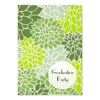 Cartão Graduação - flores da dália, flores - verde