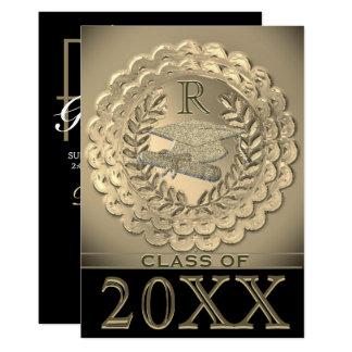 Cartão Graduação metálica do ouro do falso
