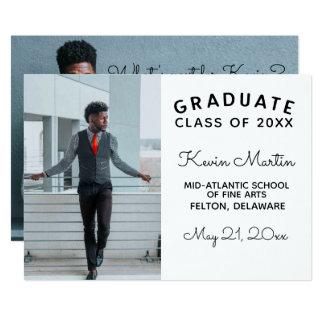 Cartão Graduação moderna minimalista do tipo e do roteiro