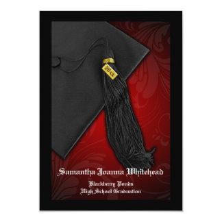 Cartão Graduação preta e vermelha de qualquer ano da