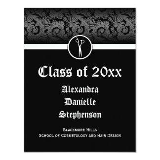 Cartão Graduação preto e branco da escola da cosmetologia