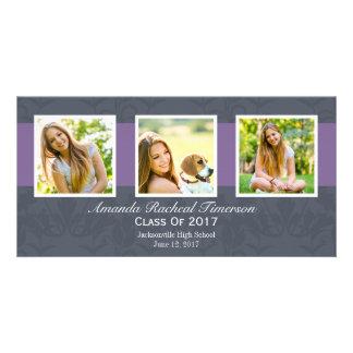 Cartão Graduação roxa chique da ardósia da multi foto