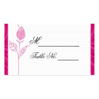 Cartão gráfico do lugar do casamento do rosa do cartão de visita
