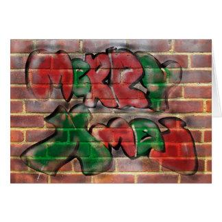 Cartão Grafites verdes vermelhos do Xmas da feliz