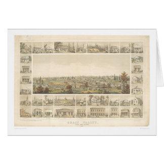 Cartão Grame o vale, mapa panorâmico 1858 do CA (0663A)