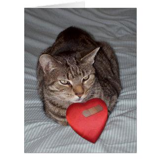 Cartão GRANDE bandaid do coração do gato