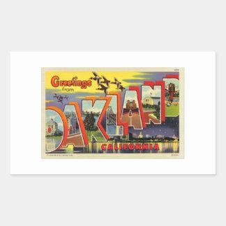 Cartão grande da letra de Oakland do kitsch retro Adesivo Retangular