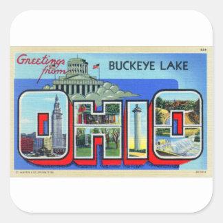 Cartão grande da letra de Ohio do kitsch retro do Adesivo Quadrado
