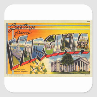 Cartão grande da letra de Virgínia do kitsch retro Adesivo Quadrado