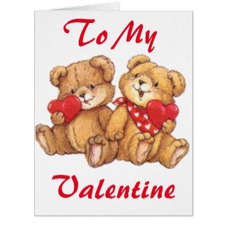 Cartão grande do casal bonito do urso de ursinho