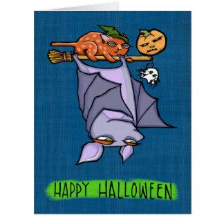 Cartão grande do Dia das Bruxas do gato Grouchy do