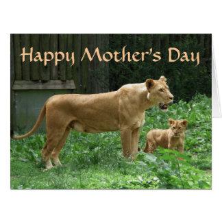 Cartão GRANDE do dia das mães feroz do leão de