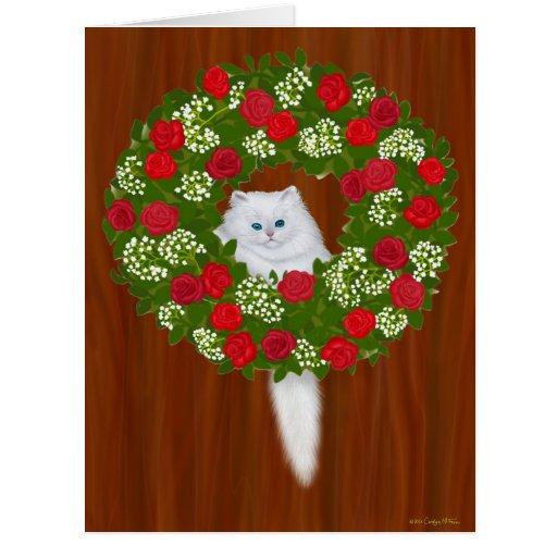 Cartão grande do gatinho da grinalda do feriado do