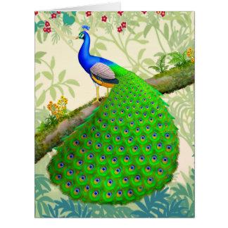 Cartão grande do pavão azul indiano exótico