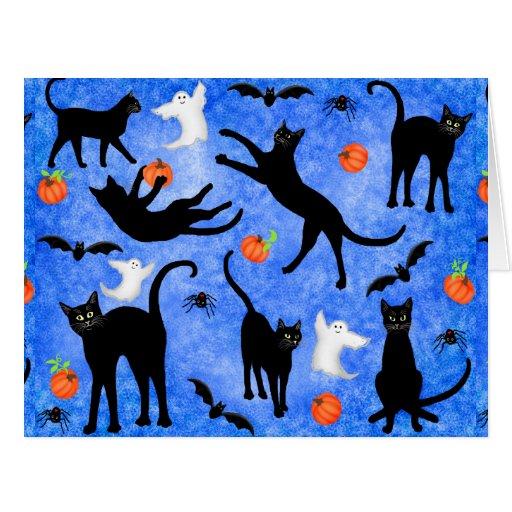 Cartão grande dos bastões dos fantasmas dos gatos