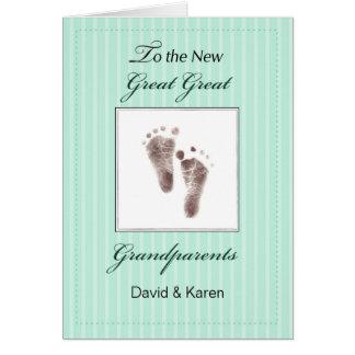 Cartão Grande excelente novo - avós do bebê/verde neutro
