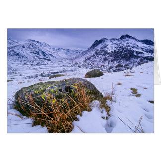 Cartão Grande Langdale no inverno - o distrito do lago