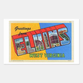 Cartão grande retro da letra de Elkins WV do Adesivo Retangular