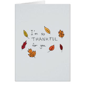 Cartão Grato bonito para você acção de graças tirada mão